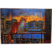 """REDUCED """"Red Cat Over Kremlin"""" Original 20th Century Russian Painting, Signed"""