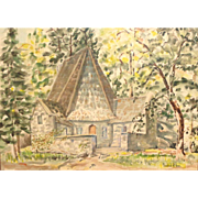 REDUCED Stanford R. Horn (20th Century) Original Watercolor, Landscape With Church or Inn