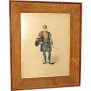 "REDUCED Antique Color Lithograph ""A Gentleman of his Majesty's Privy Chamber"" from L"