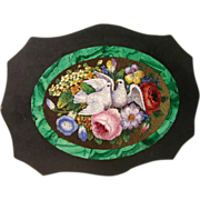 Museum Quality Micro Mosaic Of Doves and Flowers, Circa 1830