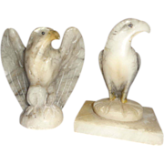 Pair Of Italian Hardstone Eagle Paperweights