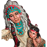 LARRY HAGMAN'S ESTATE - Sculpture of Indian Chief And Child, Bayou Betty Inscribed,  With ...