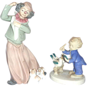 "TWO ""Having Fun With Our Pets"" Porcelains - One Clown With Puppies, One Child With B"