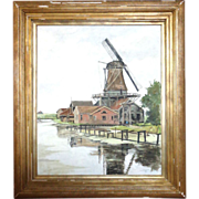SALE Large Landscape With Windmill, Oil on Canvas, by Well-Listed Artist Nico Wilhelm Jungmann