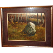 "SALE ""Boulder In The Forest"" Large Signed Original Painting By P. Sinclair"