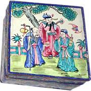 SALE Beautiful Enamel On Copper Signed Lidded Box, Chinese