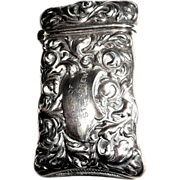 SALE Antique Sterling Silver Match Safe (Vesta), St. Andrew Lodge, Dated 1898.