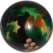 "SALE ""Kuo's China Cloison"" Exquisite Grape Cloisonne Paperweight, By Well-Known Arti"