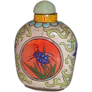 SALE Enameled Chinese Snuff Bottle, Republic Period, Exquisite With Butterfly One Side, Beetle