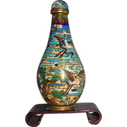 SOLD 19th Century Cloisonne Enamel Snuff Bottle With Cranes and Pines, Truly Lovely