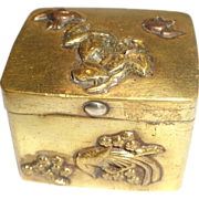 SOLD Bronze Antique Japanese Snuff Box With Applied Birds, Flowers and Trees