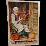 "SALE Lori Fronczak (American 20th Century) ""Harvest Tide"" Original Signed Watercolor"
