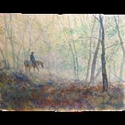 "REDUCED Todd Reifers (American 20th Century) Large Original Watercolor ""Silent Rain"""