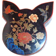 SALE Butterfly And Bird Chinese Lacquer Box And Cover, Unusually Shaped,