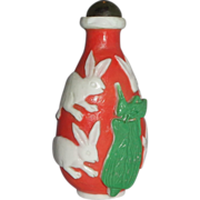 SALE Chinese Overlay Carved Glass Snuff Bottle With Rabbits, Grasshopper and Plant, Republic P