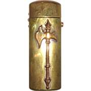 SALE Push Button Brass Match Safe Decorated With An Axe, Circa 1890/1910
