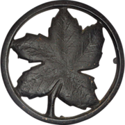 SALE Authentic Ober Cast Iron Maple Leaf Trivet, Four Legs,  Circa 1930