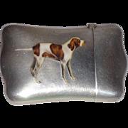 SALE Antique Sterling And Enamel Match Safe (Vesta) With Hunting Dog, C. 1900