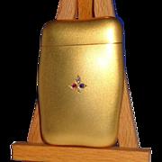 SALE 14K Gold, Diamond, Ruby and Emerald Battin Shaped Match Safe (Vesta),