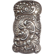 SALE Antique Sterling Silver Shiebler Shaped Match Safe (Vesta), Beautiful Repousse, Circa 190