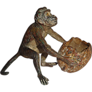 SALE Vienna Bronze Monkey With Walnut Basket, Signed, Circa 1890/1910