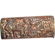SALE Antique French Match Safe (Vesta) With A Tavern Scene, Multi-Figural, In High Relief