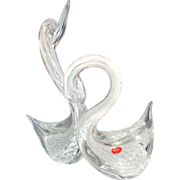 REDUCED Very Large Pair of Murano Glass Swans With Original Sticker, Exquisite!