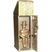 Humorous Antique Match Safe (Vesta) - An Outhouse or Privy With A Gentleman Using The Faciliti