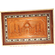 SALE Carved and Inlaid Wood Dresser Box With The Taj Mahal, Great Monument to Love