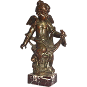 REDUCED Art Deco Winged Angel With A Frog - Cast Metal On A Marble Base