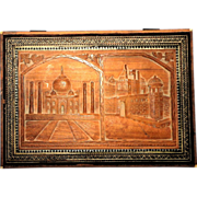 REDUCED Carved And Inlaid Wood Dresser Or Jewelry Box With Scenes Of The Taj Mahal ...
