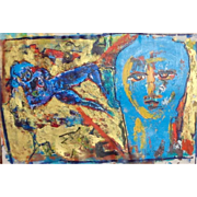 "REDUCED Original Oil On Canvas ""Blue Nude And Face"" Neith Nevelson (American Born 19"