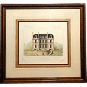 "Original Hand-Painted Watercolor ""Villa Suburbaine"" Framed Architects Rendering"