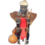 SALE African Hand Carved Large Ebony Witch Doctor