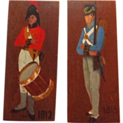 SALE PAIR Of Signed Hand-Painted Wood Plaques Of Soldiers From The War Of 1812.