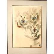 "SALE Original Signed Watercolor - ""Cats"""