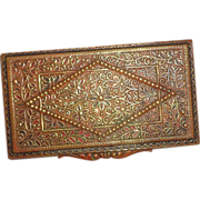 Antique French Calling Card Case Enamel on Brass