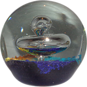 Art Glass Large Paperweight With Controlled Bubble Coming From A Swirling Crystal Mushroom Ove