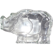 REDUCED Heavy Glass Rhinoceros Paperweight