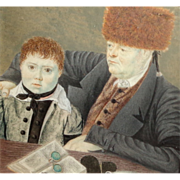 SALE Russian Miniature Portrait Painting Father and Son, 1820, in Gold gilt Frame