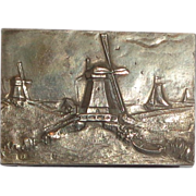 SALE Dutch Silver Match Safe With Detailed Landscape With Windmills, Boats; Hallmarked