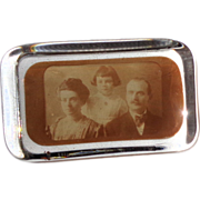 SALE Antique Paperweight - Glass With Old Family Photo by Lewis P. Peters, Circa 1890s