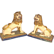 SALE PAIR of Pottery Lions Purchased In France in 1965
