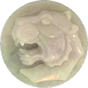 SALE Natural Lavender Jade Art Glass Lion Paperweight, Carved In High Relief