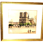 "REDUCED Original Signed French School Watercolor on Paper ""Booksellers At Notre Dame"""