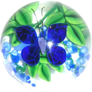 SALE Steven Lundberg Personally Signed Paperweight With Butterfly And Flowers