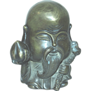 REDUCED Chinese Bronze Statue or Paperweight Of Taoism Deity of Longevity
