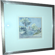 SALE Original Watercolor Of A French Landscape, Signed