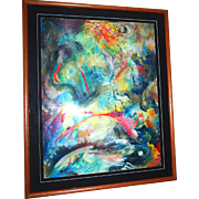 Original Mixed Media Abstract Painting, Dramatic and Exciting