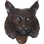 SALE D. H. Turner (20th Century American) Limited Edition Bronze Bust Of A Bobcat, Signed ...
